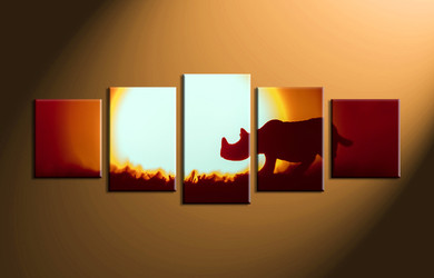 home decor, 5 Piece pictures, rhinoceros group canvas, scenery canvas art, animal large canvas