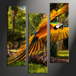home decor, 3 piece canvas wall art, forest multi panel canvas, parrot canvas art, wildlife group canvas
