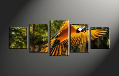 wildlife group canvas, home decor, 5 piece pictures, forest multi panel canvas, parrot canvas art,