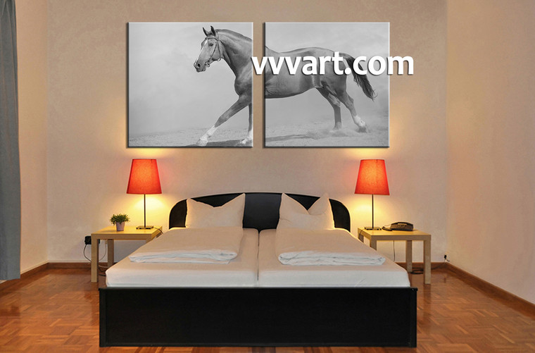 bedroom wall art,2 piece canvas art prints, animal canvas print, horse artwork, wild canvas photography