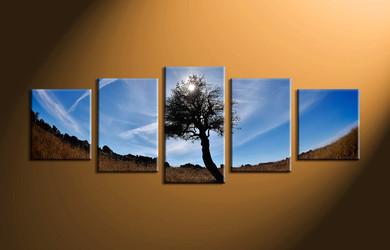 home decor,5 piece canvas art prints, forest canvas print, nature canvas print,  sunrise large canvas