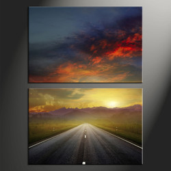 home decor, 2 piece canvas art prints, landscape canvas print, evening sunset canvas print,  pathway photo canvas