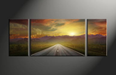 home decor,3 piece group canvas, landscape canvas print, evening sunset canvas print,  pathway artwork
