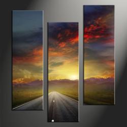 home decor,3 piece group canvas, landscape canvas print, evening sunset canvas print,  pathway artwork
