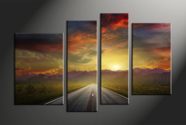 home decor,4 piece group canvas, landscape canvas print, evening sunset canvas print,  pathway artwork