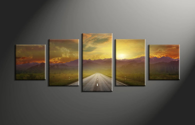 home decor,5 piece canvas art prints, landscape pictures, evening sunset multi panel art,  pathway pictures