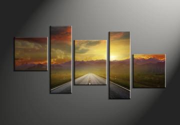 home decor,5 piece group canvas, landscape pictures, evening sunset canvas print,  pathway artwork