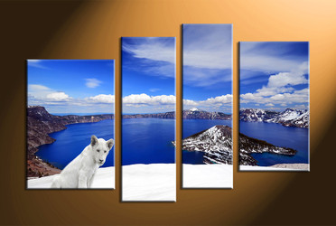 home decor,4 piece canvas art prints, landscape canvas print, lion canvas print,  white lion photo canvas
