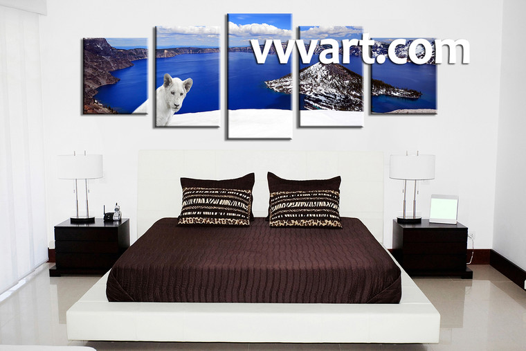bedroom wall decor, 5 piece pictures, mountain wall art, scenery huge pictures, lion huge pictures
