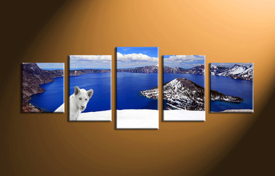 home decor,5 piece canvas art prints, landscape canvas print, lion canvas print,  white lion multi panel art