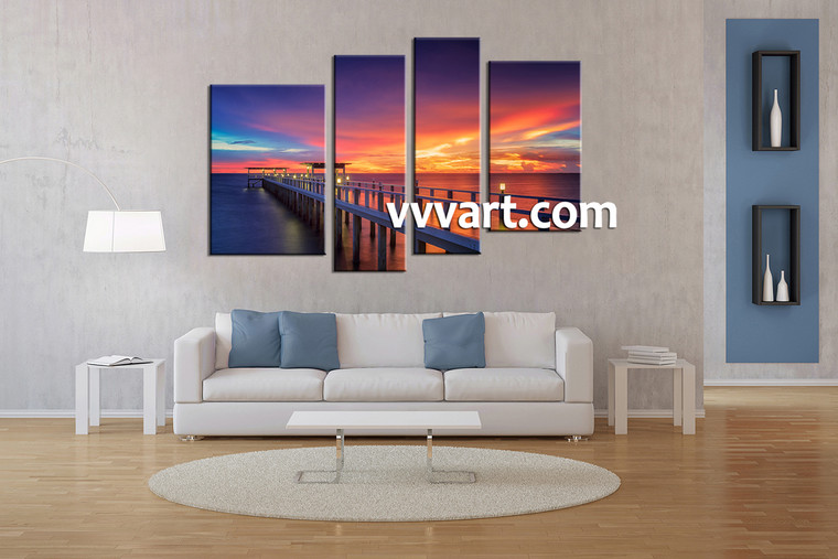 living room art, 4 piece canvas wall art, ocean canvas wall art, huge canvas art, ocean group canvas