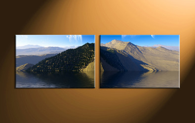 home decor,2 piece canvas art prints, landscape canvas print, ocean canvas print,  mountain photo canvas