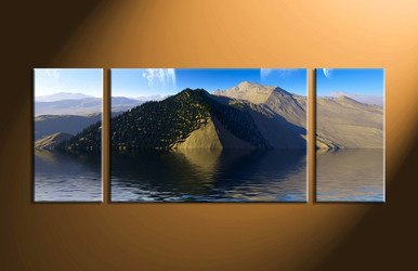 home decor,3 piece canvas art prints, landscape canvas print, ocean canvas print,  mountain photo canvas