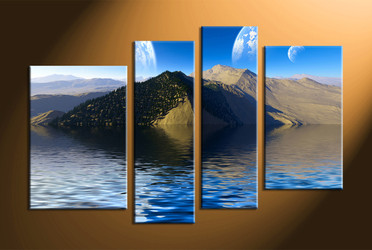home decor,4 piece canvas art prints, landscape canvas print, ocean canvas print,  mountain photo canvas