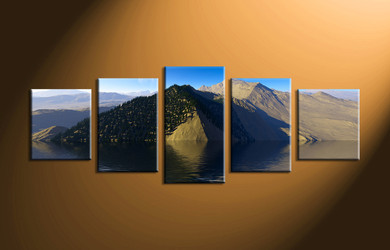 home decor,5 piece canvas art prints, landscape canvas print, ocean canvas print,  mountain photo canvas