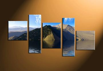 home decor,5 piece canvas art prints, landscape canvas print, ocean canvas print,  mountain photo canvas