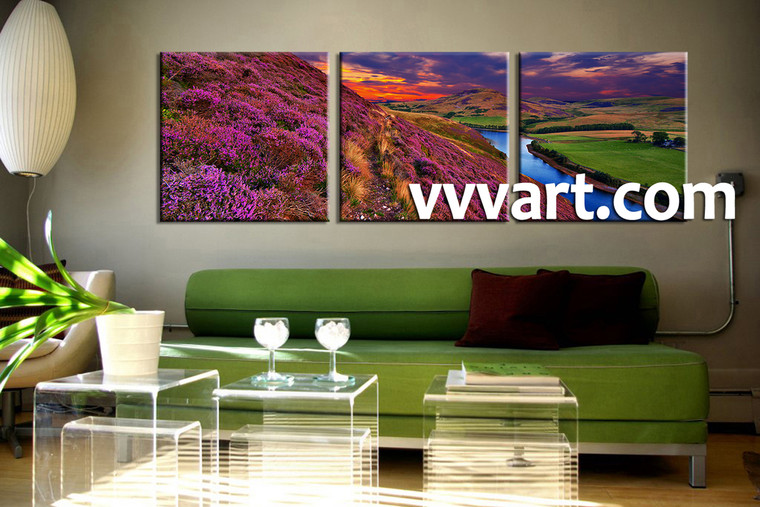 living room Wall Art, 3 Piece huge group canvas, shrubs  multi panel art, scenery wall art, river huge pictures