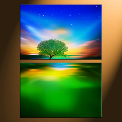 home decor,2 piece canvas art prints, landscape canvas print, tree canvas print,  nature photo canvas