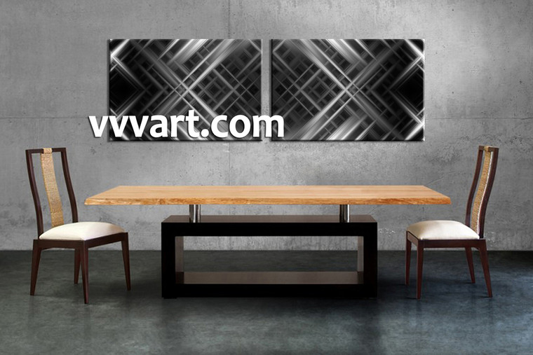 Dining Room Art, 2 piece canvas art prints, abstract canvas print, abstract art, black and white abstract large pictures