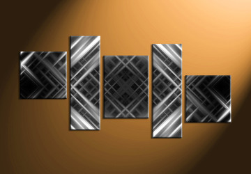 5 Piece Canvas Grey Silver Modern Abstract Artwork Abstract Wall Art Large Abstract Art