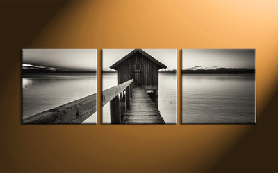 home decor,3 piece canvas wall art, ocean wall art, ocean wall decor, ocean canvas artwork, black and white wall art