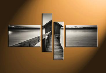 home decor,4 piece canvas wall art, ocean wall art, ocean wall decor, ocean canvas print, black and white wall art