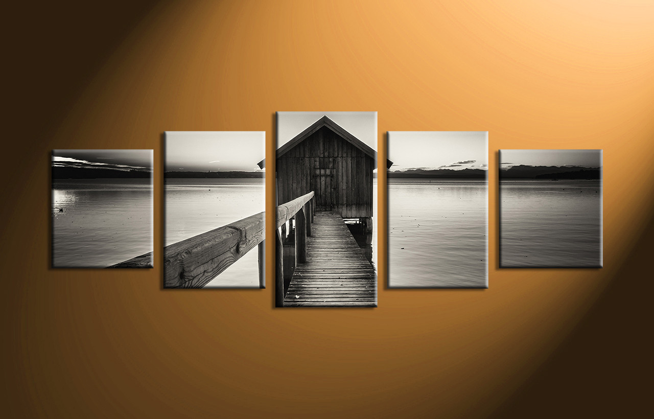5 Piece Grey Canvas Ocean Wall Decor