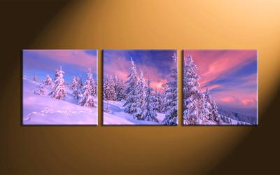 home decor, 3 piece group canvas, landscape canvas print, fig tree canvas print,  snow artwork