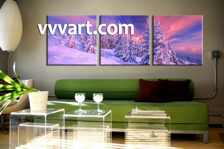 living room Wall Art, 3 Piece huge pictures, nature multi panel art, scenery wall art, fig tree artwork