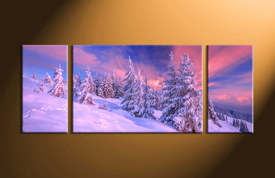 home decor, 3 piece group canvas, landscape canvas print, fig tree canvas print,  snow artwork