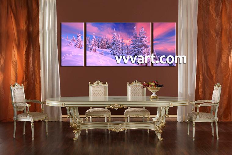 dining room canvas wall art, 3 Piece Wall Art, scenery multi panel art, snow artwork, landscape  art