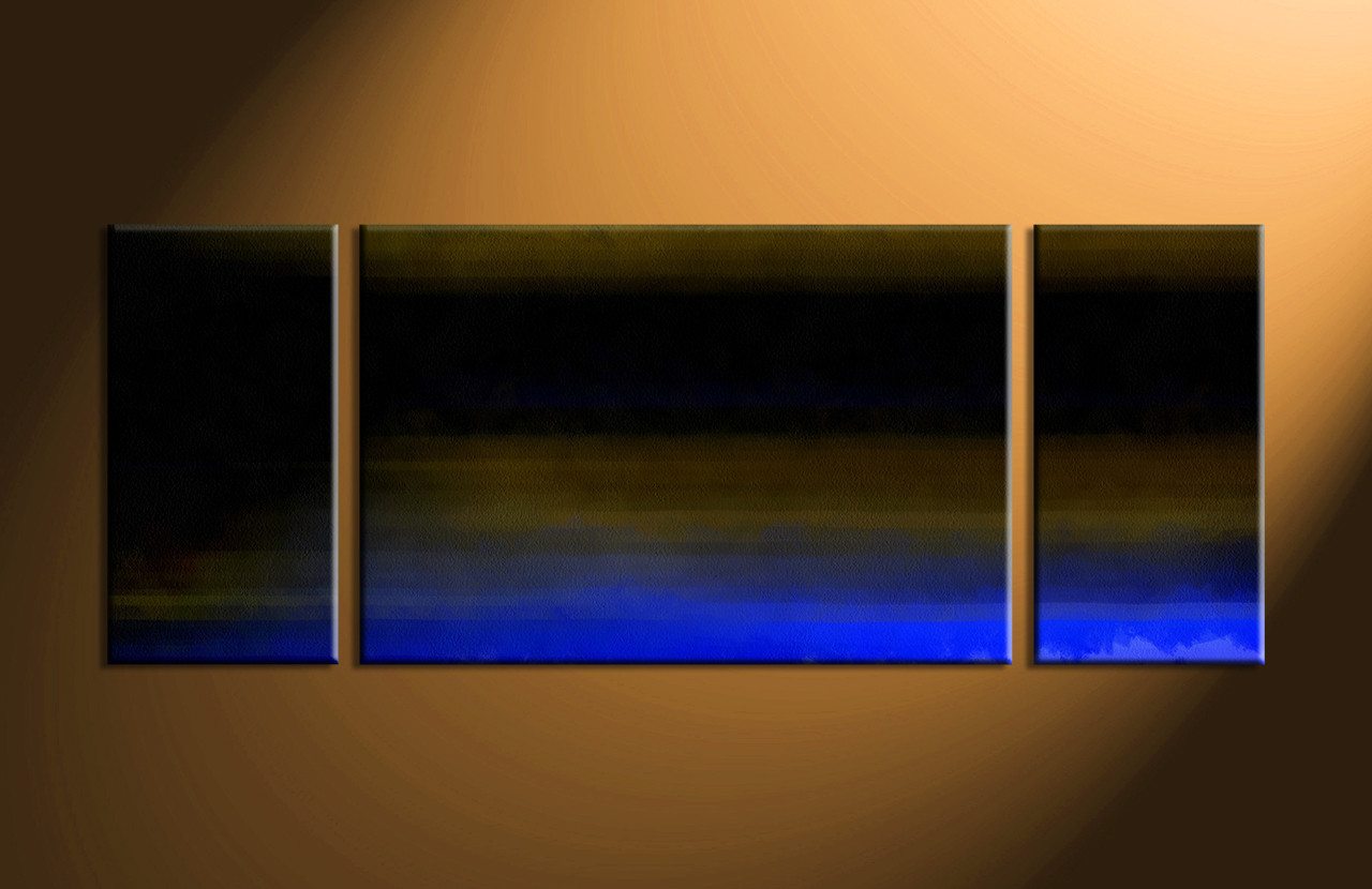 3 Piece Black Brown Blue Canvas Abstract Canvas Photography Wide Triptych Art