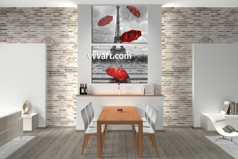 dining room wall decor, 2 Piece Wall Art, umbrella canvas art, raining artwork, eiffel tower picture
