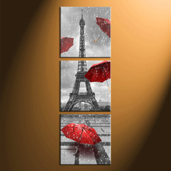 home decor, 3 Piece Wall Art, umbrella panel art, eiffel tower art, black and wight raining art