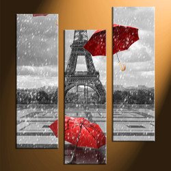 home decor, 3 Piece Wall Art, umbrella panel art, eiffel tower art, black and white raining art
