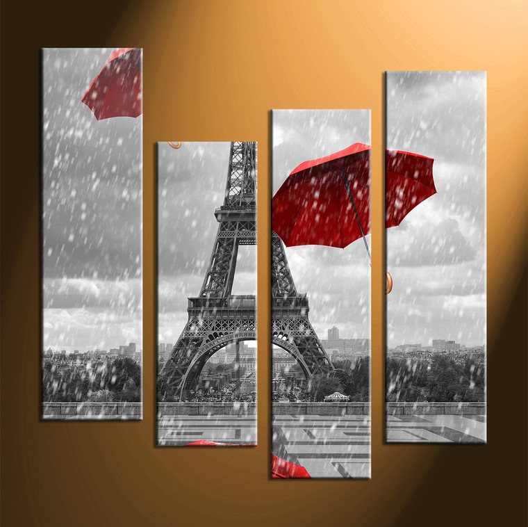 4 Piece Red Umbrella Black And White Multi Panel Art