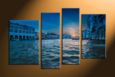 Home Décor, 4 piece canvas art prints, city canvas print, city multi panel canvas, city photo canvas