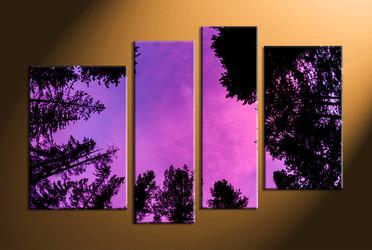 home decor,4 piece canvas art prints, leafy trees canvas print, night canvas print,  forest photo canvas