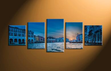 Home Wall Décor, 5 piece canvas art prints, city canvas print, scenery multi panel canvas, city huge canvas art