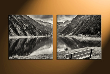 home decor, 2 Piece Wall Art, forest multi panel art, black and white canvas art, river picture