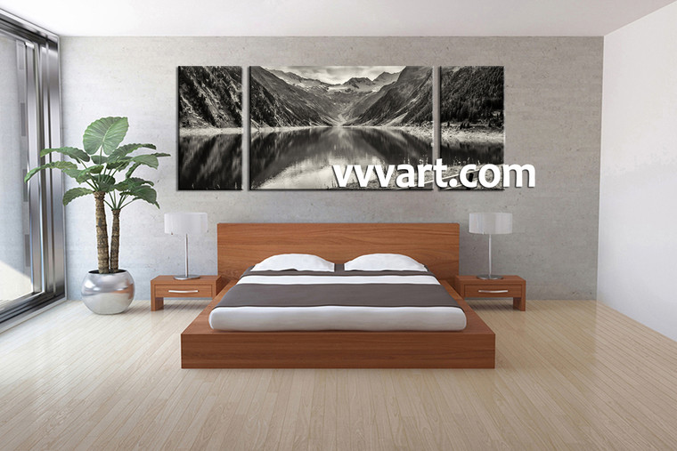 bedroom decor, 3 piece wall art, forest picture, river art, black and white huge canvas art