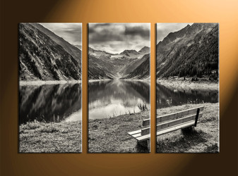 home decor, 3 Piece Wall Art, forest group canvas, black and white canvas art, river canvas art prints
