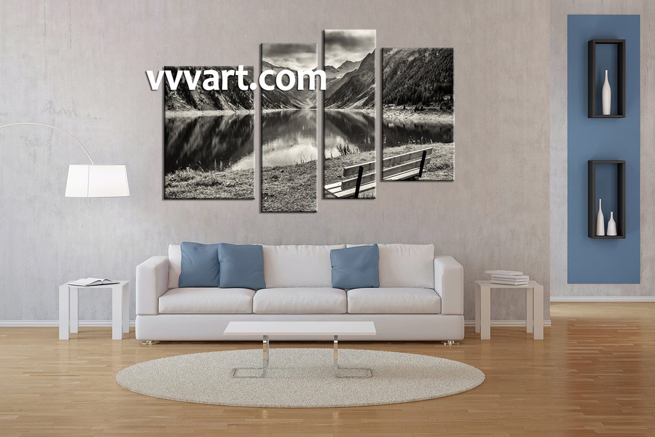 Living room wall art 4 piece wall art river canvas photography black and