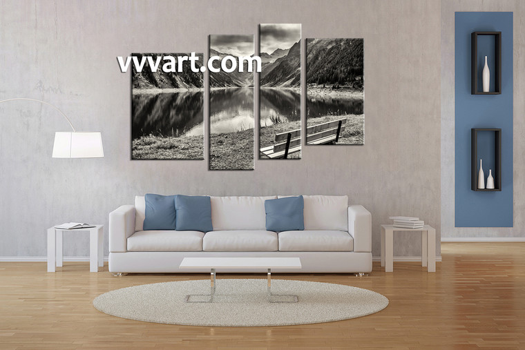 living room wall art, 4 Piece Wall Art, river canvas photography, black and white decor, forest multi panel canvas
