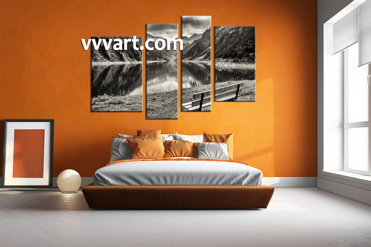 Bedroom wall decor 4 piece wall art forest picture river art black