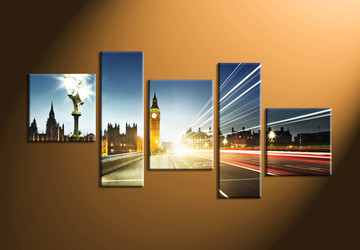 Home Décor, 5 piece canvas art prints, city multi panel art, city light canvas wall art, city artwork