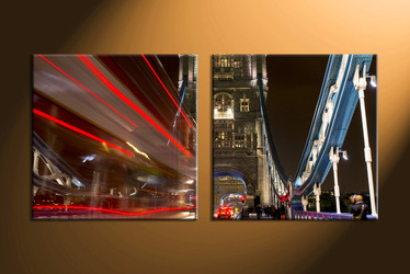 Home Décor, 2 piece canvas art prints, city canvas print, city artwork, night art