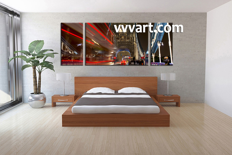 Bedroom Décor, 3 Piece Wall Art, city multi panel art, night pictures, city large pictures