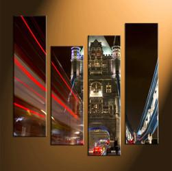 Home Décor, 4 piece canvas art prints, city art, city wall decor, night city decor