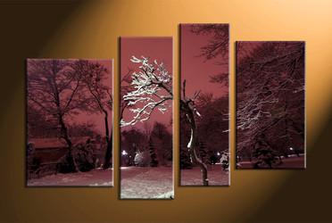 forest photo canvas, home decor,4 piece canvas art prints, landscape canvas print,  dead trees canvas print